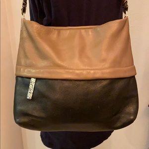Brighton leather shoulder bag tan/black good used